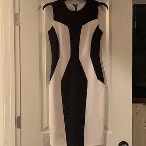 Calvin Klein midi dress navy and white